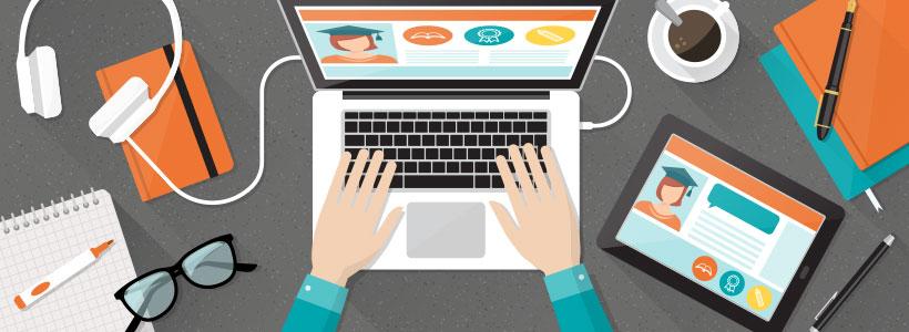 Illustration de quelqu'un navigant sur un site web relié à l'éducation
